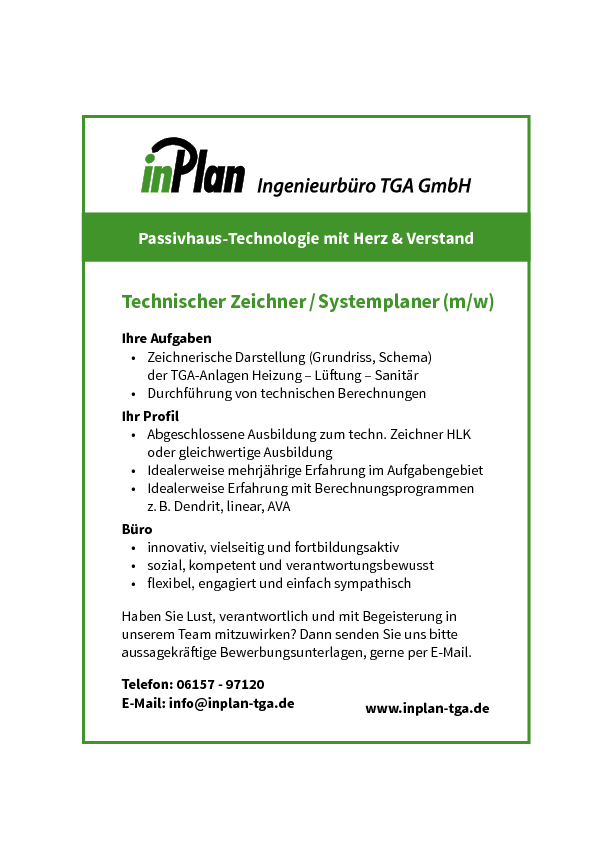 Stellenangebot Technischer Zeichner Inplan TGA GmbH
